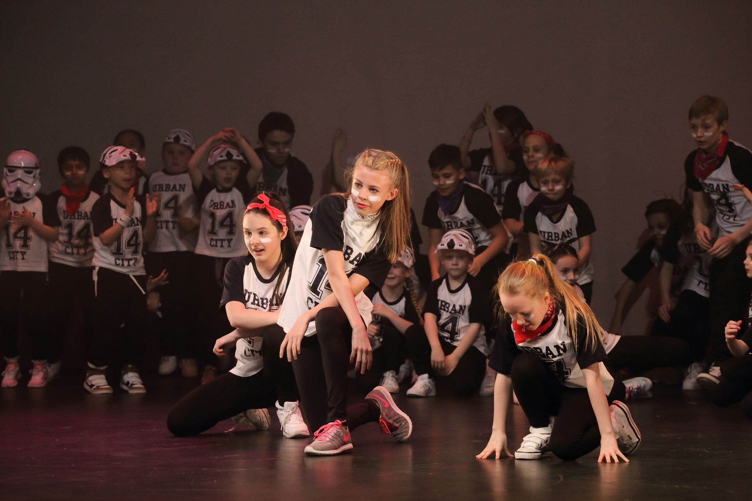 Street dance school performing on stage in crawley at the Hawth theatre